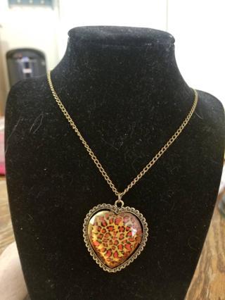 Unique Leopard Print Heart Necklace BNWT