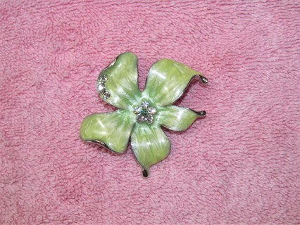 Beautiful Green Enameled Flower Brooch Fashion Jewelry Silver & Rhinestones Pin