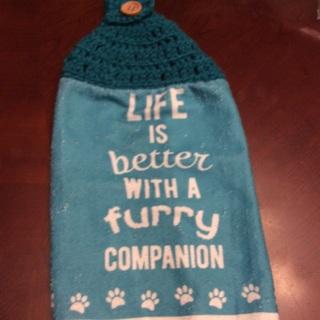 Hand Crochet Stove Towel .