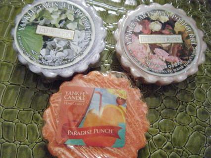 Yankee Candle Wax Tart Melts Potpourri Lot! Hydrangea Fresh Roses Paradise Punch