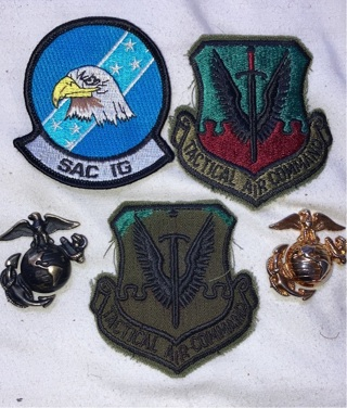 Military badges in Marines metals