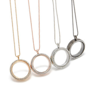 Charm Crystal Glass Round Locket Pendant Necklace