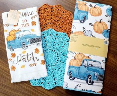 "Crochet 2 - 9"" Dish Cloth/Wash Cloths/1 EVERYDAY TERRY CLOTH KITCHEN TOWEL& 1 DISH DRYING MAT"