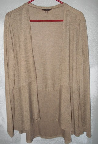 FENN WRIGHT MANSON SZ. 2X, OPEN CARDIGAN, BROWN, WOMEN