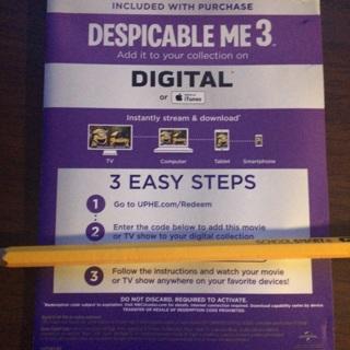 Despicable Me 3 digital code