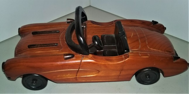 "All-wood CORVETTE - free-wheeling - doors do not open - 9 1/2"" long X 4"" wide - 16 oz."
