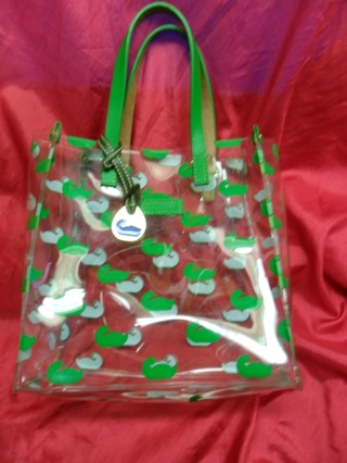 Authentic Dooney Bourke Swan Green Color Clear Lunch Bag Tote