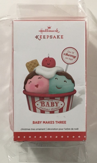 Hallmark Keepsake Ornament: Baby Makes Three New Parents Christmas Tree Ornament - Brand New!