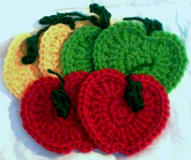 Free Apple Coasters And Hot Pads Crochet Pattern Pdf File Kitchen