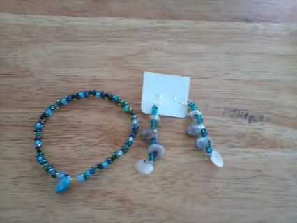 Handmade Shell & Beaded Bracelet & Earring Set: New