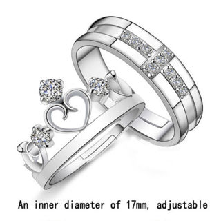 #16 Adjustable Crystal Stainless Steel Couple Promise Engagement Ring Wedding Band BestGift for Love
