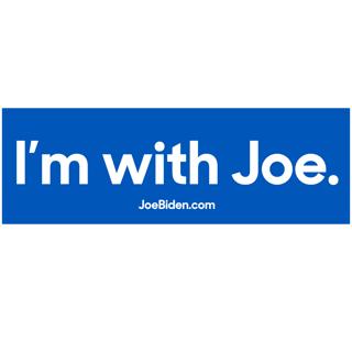 I'M WITH JOE (For President) Navy & White Bumper Sticker NEW