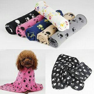 Pet Dog Cat Puppy Kitten Paw Print Soft Blanket Fleece Warm Bed Mat Cushion