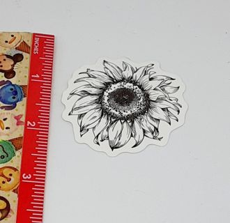 Black and White sunflower Large sticker decal NEW