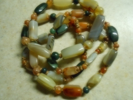 "~Vintage Agate Gemstones 42"" Necklace ~"