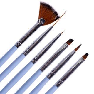 6pcs Brush Pen Nail Art Dotting Painting Drawing Powder Gel Polish Liner Grid Carving DIY Pro Beau