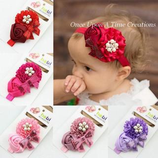 baby girl headband Infant hair newborn Headwear headwrap Toddlers Ribbon Kids Flower pearl turban