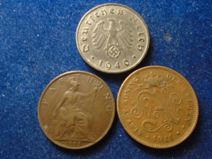 1895 1911 & 1940 OLD WORLD COINS THIRD REICH COIN!