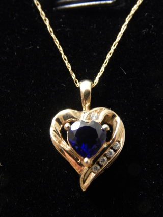 """GORGEOUS REAL 10KT YELLOW GOLD SAPPHIRE HEART PENDANT W/10KT 20"""" CHAIN"""