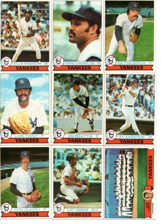 (9) 1979 Topps Burger King Yankees