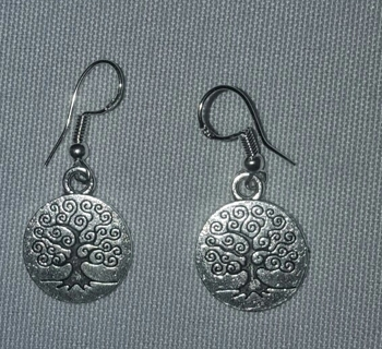 """REALLY CUTE TREE OF LIFE Dangle Earrings  .925 Silver Hooks 1"""" Drop NEW"""