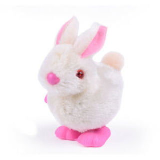 Small Jumping Rabbit Plush Wind-Up Mechanical Toys for for Kids Games Random