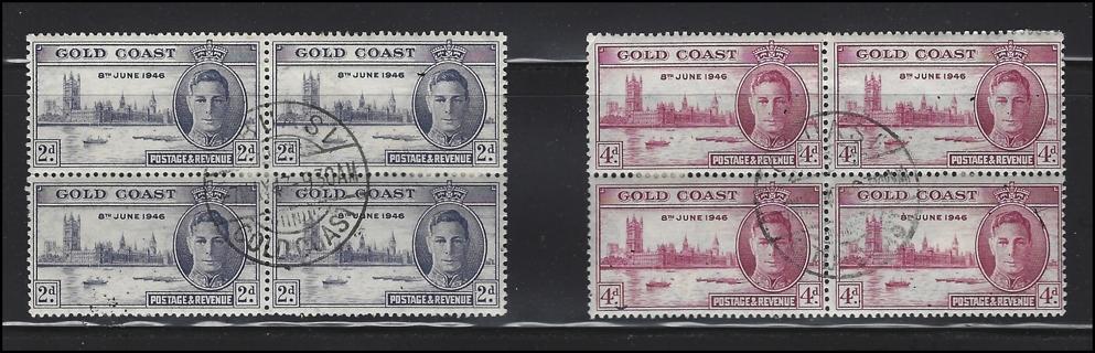 1946 Gold Coast stamp blocks of four (2), U/VF, Scott #s 128a & 129a, est Scott CV $32.00