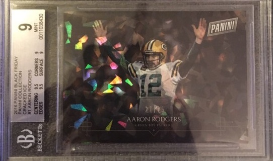 Aaron Rodgers Cracked Ice 21/25 Black Friday Collection Beckett 9 Mint Packers