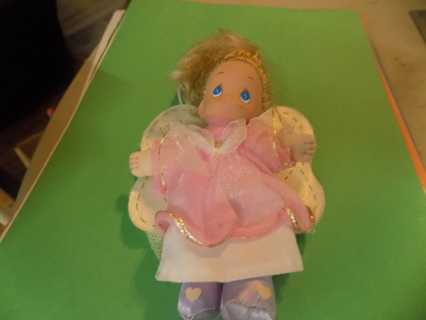 7 inch Precious Moments Angel Ornament black hair, blue eyes pink organdy gown purple shoes