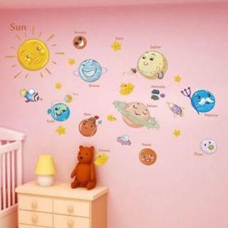 Creative Planets Solar System Bedroom Decor Wall Paper Poster Mural Wall Sticker