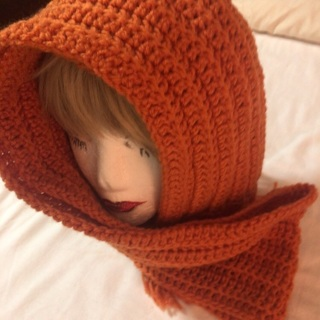 Hand Crochet Beautiful Orange Color Scarf with Tassels .