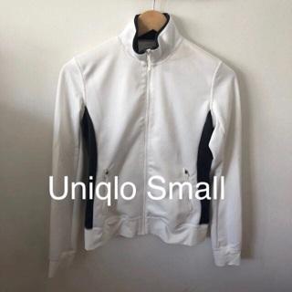 Uniqlo Colorblock Full Zip Jacket • Small • Excellent • Pockets • White & Graphite Grey • Free Ship