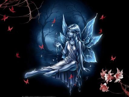 New dark night angel fairy photo 4x6