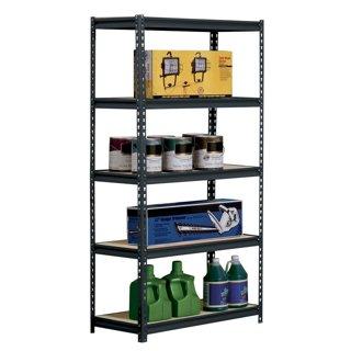 "Black Steel Heavy Duty 5-Shelf Shelving Unit, 4000lbs Capacity, 36"" Width x 72"" Height x 18"" Depth"
