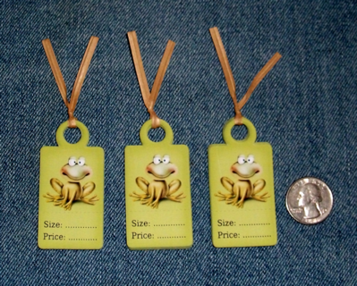 Set of 36 Adorable Frog Price Tags For Boutiques or Garage Sales