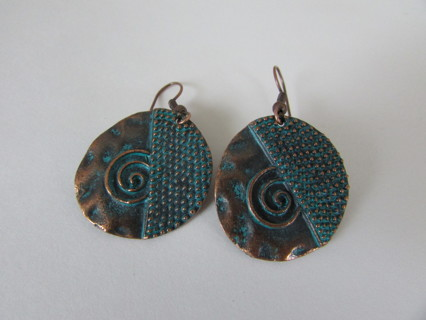 NEW- COPPER CIRCLE SWIRL EARRINGS- GREAT GIFT!  :))