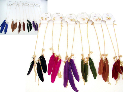 FEATHER EARRING NECKLACE SET NEW 2 PCS SET Assorted Styles