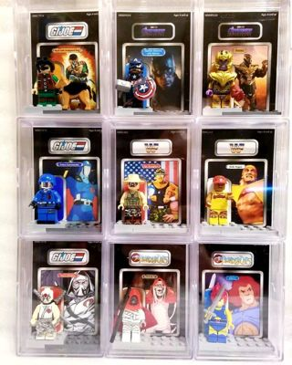 9 piece lot > Assorted characters w/Custom packaging* lego style mini figures *read & see details!