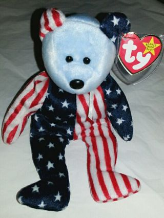 Free  TY Beanie Baby Spangle ~ 4th of July ~ Fourth of July - Dolls ... 3537063de8f