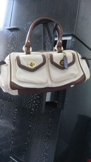 COACH FIELD BAG- CANVAS & LEATHER- OFF WHI/ BROWN LEATHER