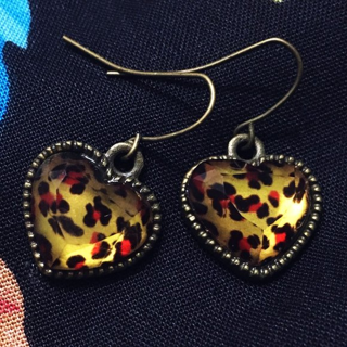 NEW Elegant Crystal Leaopard Heart Stud Earrings FREE SHIPPING