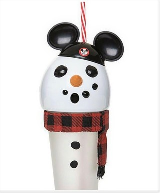 New Disney Christmas Holiday Mouseketeer Snowman Light-Up Tumbler with Straw Cup