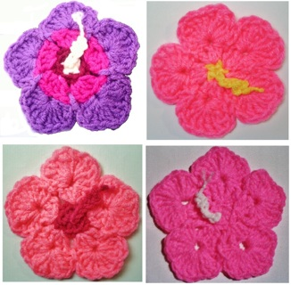Crochet Pattern PDF File For Hibiscus Flower Leaf Coasters Hot Pads 404