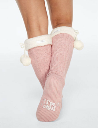 NEW! Victoria's Secret PINK Cozy Sherpa Lined Cable Knit Socks With Pom Poms- Knee High