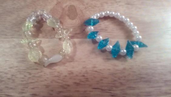 2 Small Handmade Kids Stretch Bracelets: New