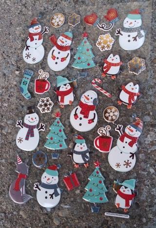 CHRISTMAS PUFFY VINYL STICKERS LOT 4