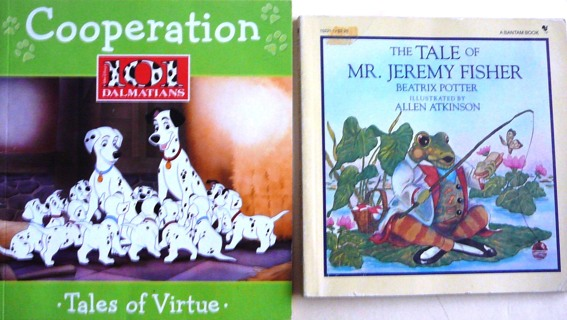 2 Small books..book of Virtues..Cooperation and Tale of Mr. Jeremy Fisher