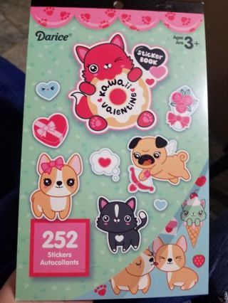 ☀️☀️☀️❤DARICE ☀️☀️ KAWAII VALENTINE ❤☀️STICKER BOOK❤☀️252 STICKERS ☀️☀️FREE SHIPPING