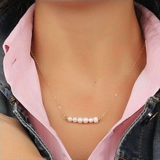 Fashion White Pearl Beads Necklace Elegant Choker Necklace Bridal Party Jewelry