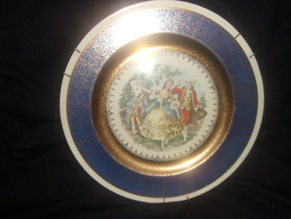 Gold Warranted 22k George and Martha Washington Blue Antique 1819 Collectors Plate